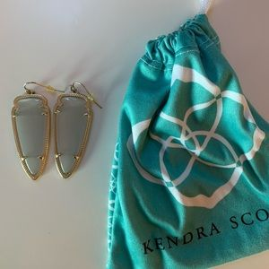 Gold Kendra Scott Earrings With Clear/Gray Stone